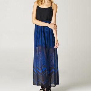 Freebird Blue & Black Zigzag Maxi Dress